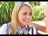 Preppy schoolgirl Mia Malkova. Lesbian tongue kiss seduction