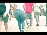 Look at the damn fat azz booty walking nut buster bro!!